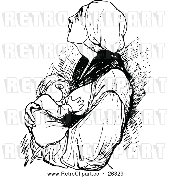 Vector Clip Art of Retro Mother Breast Feeding Her Baby