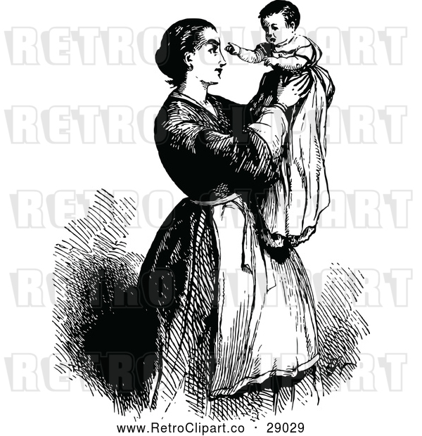 : Vector Clip Art of Retro Mother Holding up Her Baby