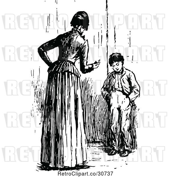 Vector Clip Art of Retro Mother Lecturing Her Son