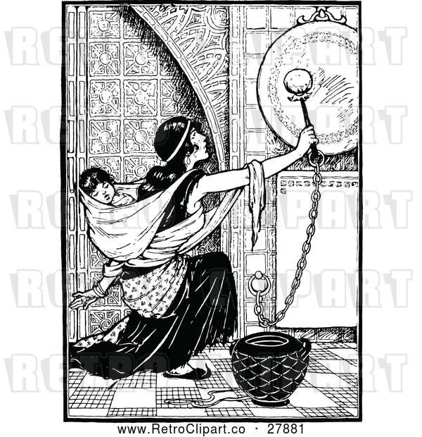 Vector Clip Art of Retro Mother Ringing a Gong with a Baby on Her Back