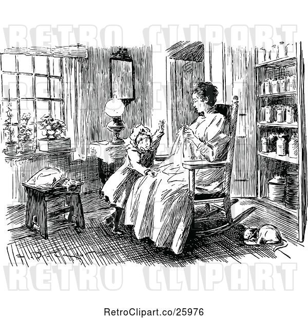 Vector Clip Art of Retro Mother Sewing with Her Daughter in a Room