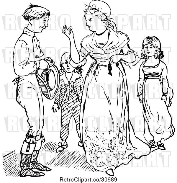 : Vector Clip Art of Retro Mother Taking a Coin from Her Husband in Front of Their KChildren