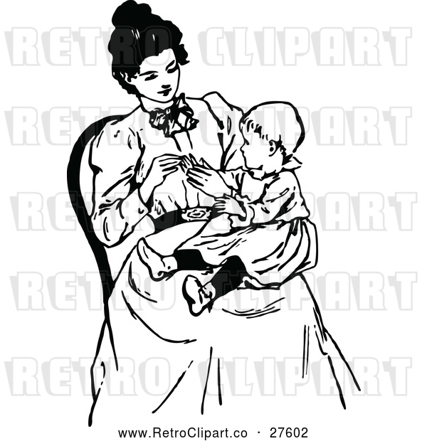 Vector Clip Art of Retro Mother with a Baby in Her Lap