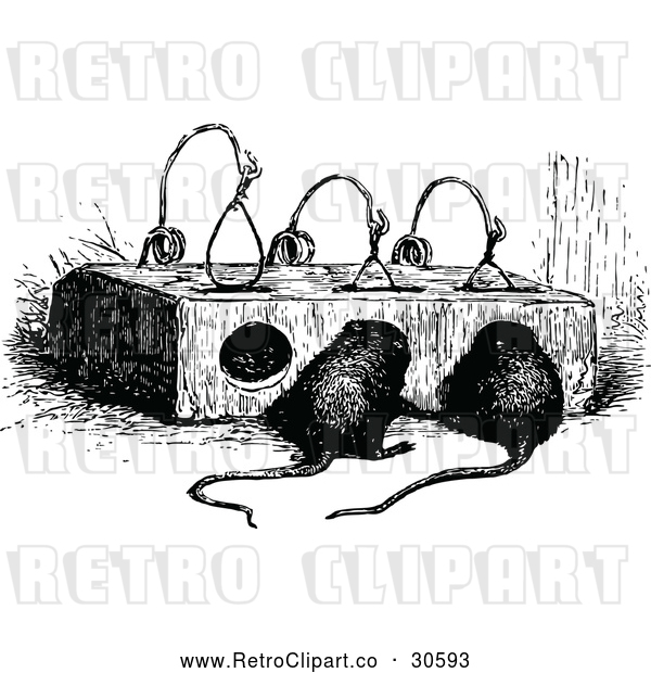 : Vector Clip Art of Retro Mouse Trap and Mice