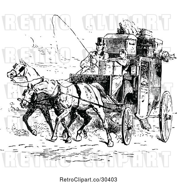 Vector Clip Art of Retro Moving Couple and Horse Drawn Carriage