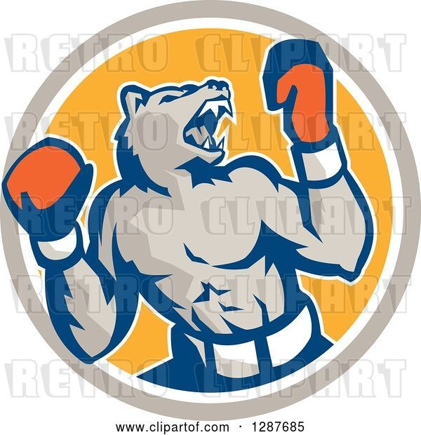 Vector Clip Art of Retro Muscular Bear Boxer Fighter Roaring in a Taupe White and Yellow Circle