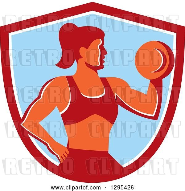 Vector Clip Art of Retro Muscular Fit Lady Working out with a Dumbbell and Doing Bicep Curls in a Red White and Blue Shield