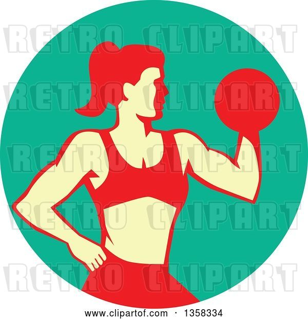 Vector Clip Art of Retro Muscular Fit Lady Working out with a Dumbbell and Doing Bicep Curls in a Turquoise Circle