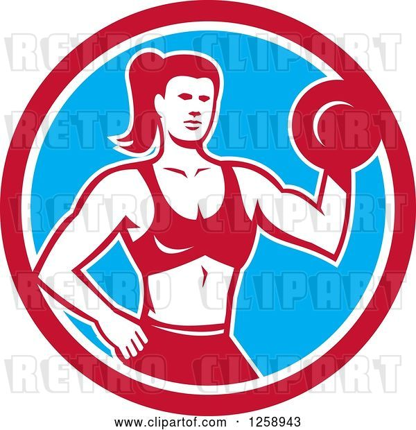 Vector Clip Art of Retro Muscular Fit Lady Working out with a Dummbell in a Red White and Blue Circle