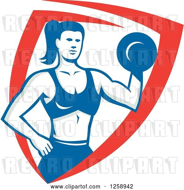 Vector Clip Art of Retro Muscular Fit Lady Working out with a Dummbell in a Red White and Blue Shield