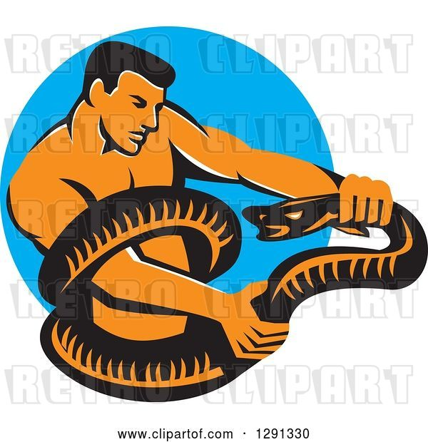 Vector Clip Art of Retro Muscular Guy Wrestling a Boa Constrictor Snake over a Blue Circle