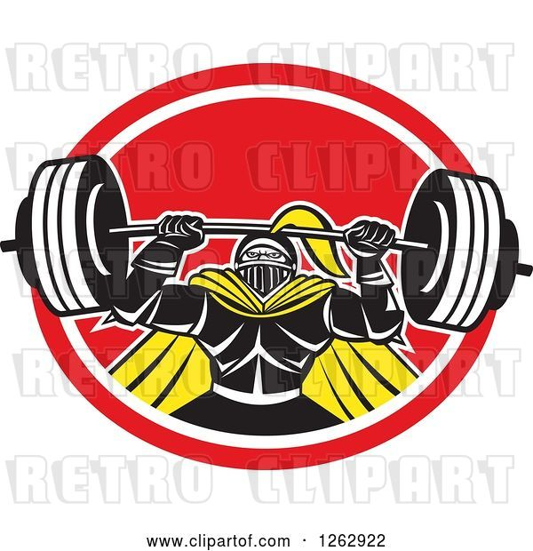 Vector Clip Art of Retro Muscular Knight Doing Squats and Working out with a Barbell in a Red and White Oval
