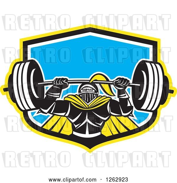 Vector Clip Art of Retro Muscular Knight Doing Squats and Working out with a Barbell in a Yellow Black White and Blue Shield