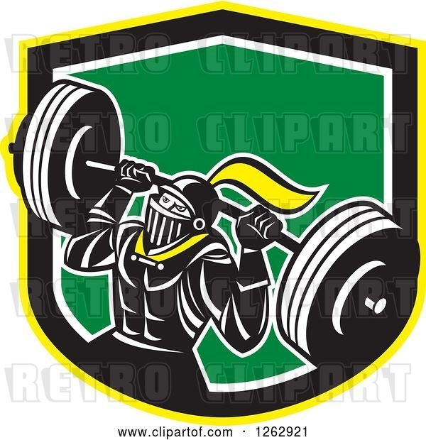 Vector Clip Art of Retro Muscular Knight Doing Squats and Working out with a Barbell in a Yellow Black White and Green Shield