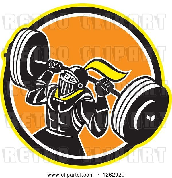 Vector Clip Art of Retro Muscular Knight Doing Squats and Working out with a Barbell in a Yellow Black White and Orange Circle