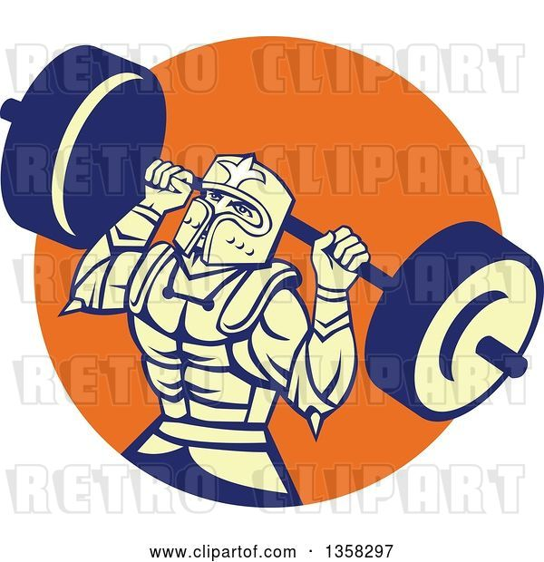 Vector Clip Art of Retro Muscular Knight in Full Armor, Doing Squats and Working out with a Barbell in an Orange Circle