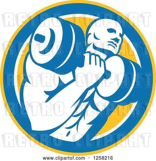 Vector Clip Art of Retro Muscular Male Bodybuilder Lifting Weights in a Yellow Blue and White Circle