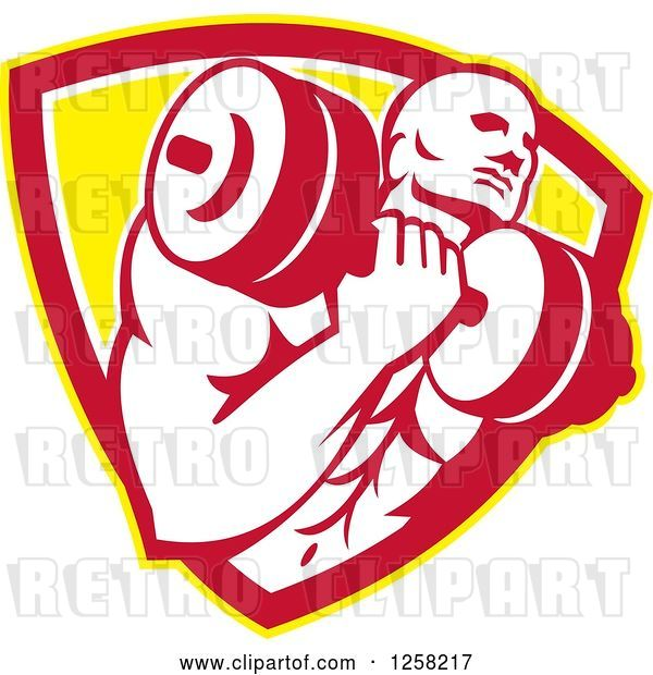 Vector Clip Art of Retro Muscular Male Bodybuilder Lifting Weights in a Yellow White and Red Shield