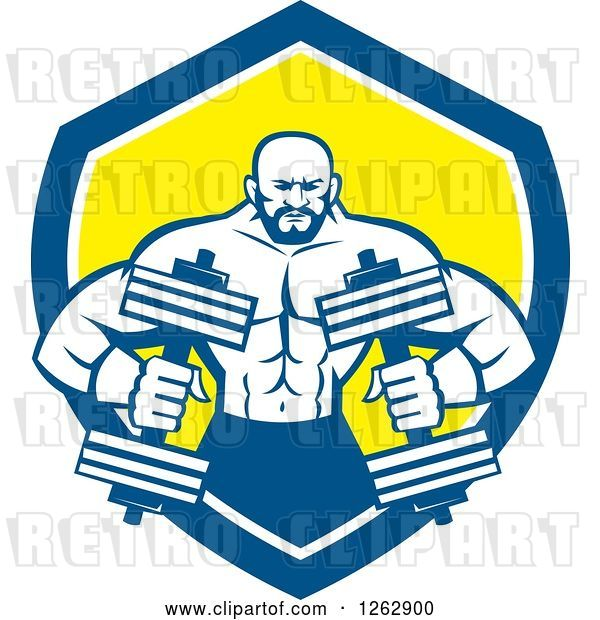 Vector Clip Art of Retro Muscular Male Bodybuilder with Dumbbells in a Blue White and Yellow Shield