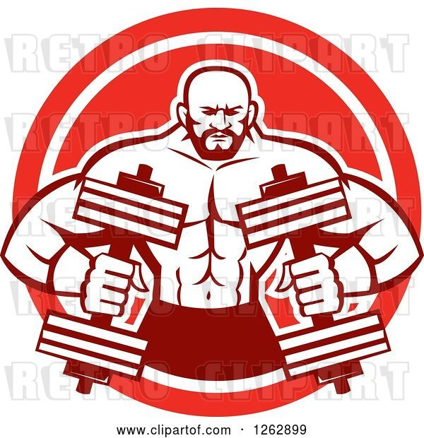 Vector Clip Art of Retro Muscular Male Bodybuilder with Dumbbells in a Red and White Circle