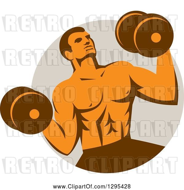 Vector Clip Art of Retro Muscular Male Crossfit Bodybuilder with Dumbbells Emerging from a Taupe Circle