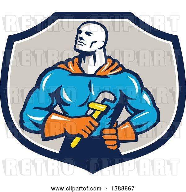 Vector Clip Art of Retro Muscular Super Hero Plumber Holding a Monkey Wrench in a Blue White and Taupe Shield