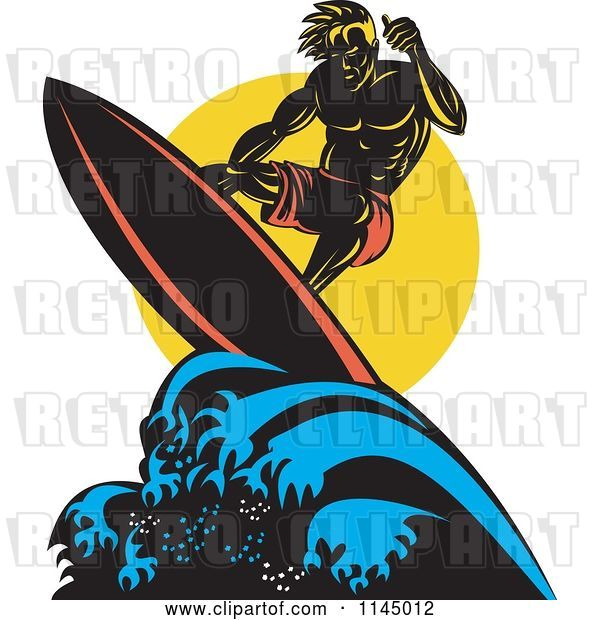 Vector Clip Art of Retro Muscular Surfer Dude Riding a Wave