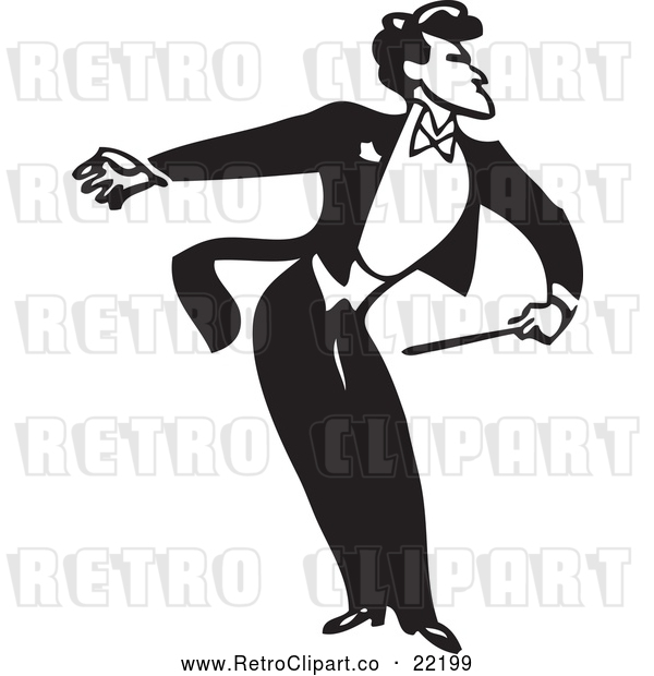 Vector Clip Art of Retro Music Conductor Facing Right, Bending and Holding an Arm Back
