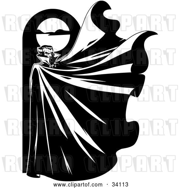 Vector Clip Art of Retro Mysterious Male Vampire Standing Below a Full Moon with His Cape Flapping in the Wind
