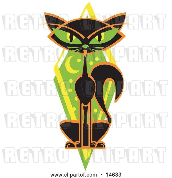 Vector Clip Art of Retro Mysterious Thin Black Cat Sitting in Front of a Green Diamond with the Moon and Stars