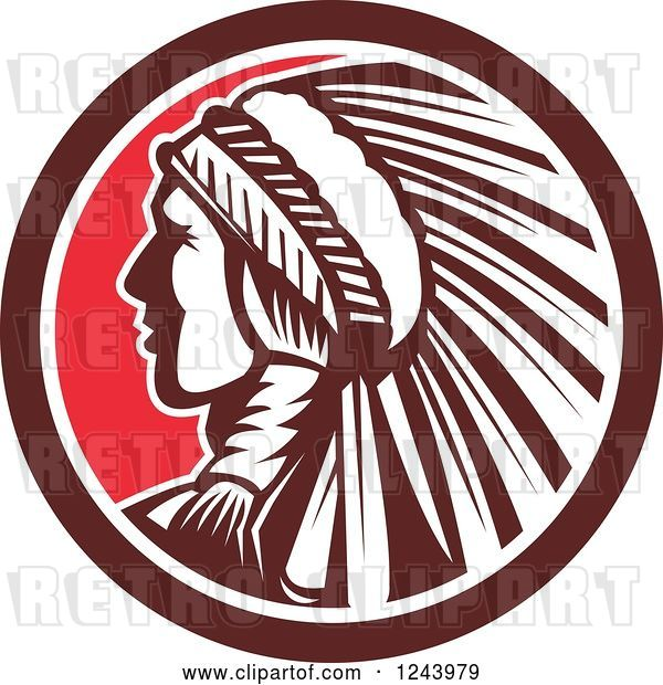 Vector Clip Art of Retro Native American Indian Chief in Profile in a Circle