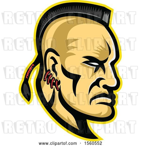 Vector Clip Art of Retro Native American Mohawk Warrior Brave in Profile