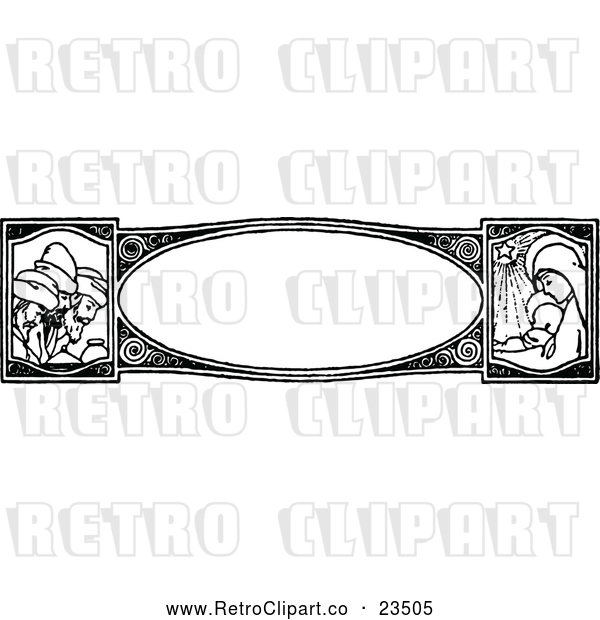 : Vector Clip Art of Retro Nativity Border