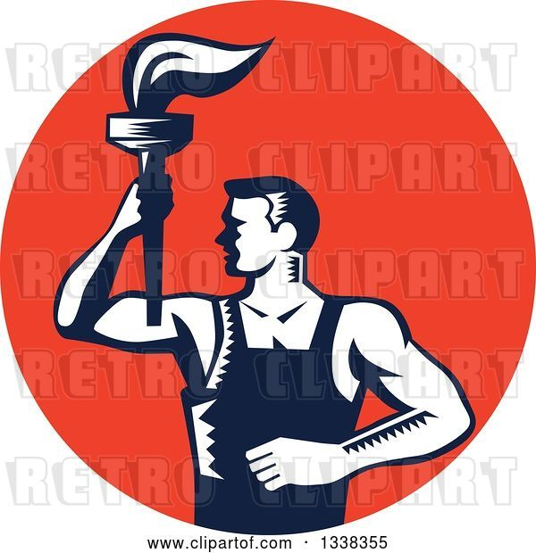 Vector Clip Art of Retro Navy Blue and White Woodcut Revolution Male Worker Holding a Torch in a Red Circle
