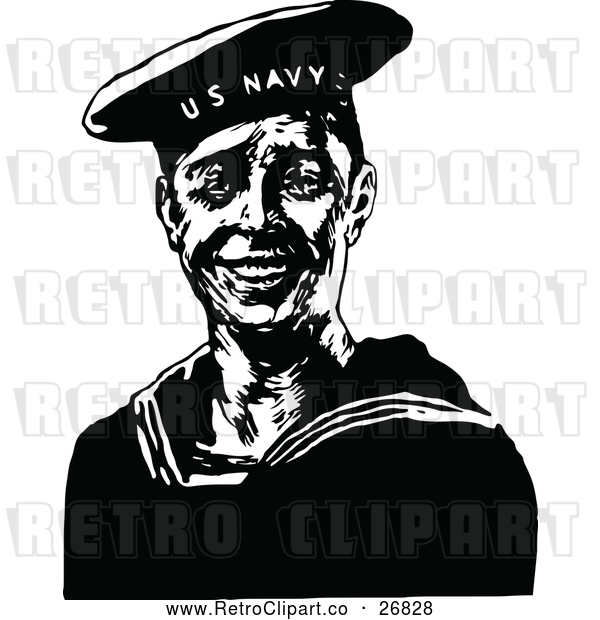 Vector Clip Art of Retro Navy Sailor
