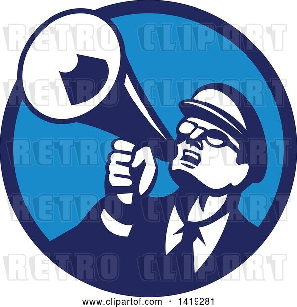 Vector Clip Art of Retro Nerdy Guy Shouting Upwards with a Megaphone in a Blue Circle