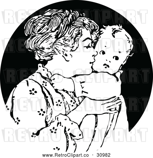 Vector Clip Art of Retro Nurturing Mother Kissing Her Baby