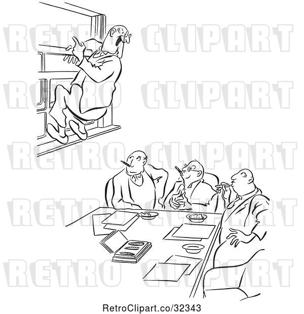 Vector Clip Art of Retro Office Worker Guy Leaping out a Window at a Meeting