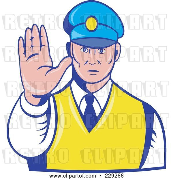 Vector Clip Art of Retro Officer Holding His Hand out
