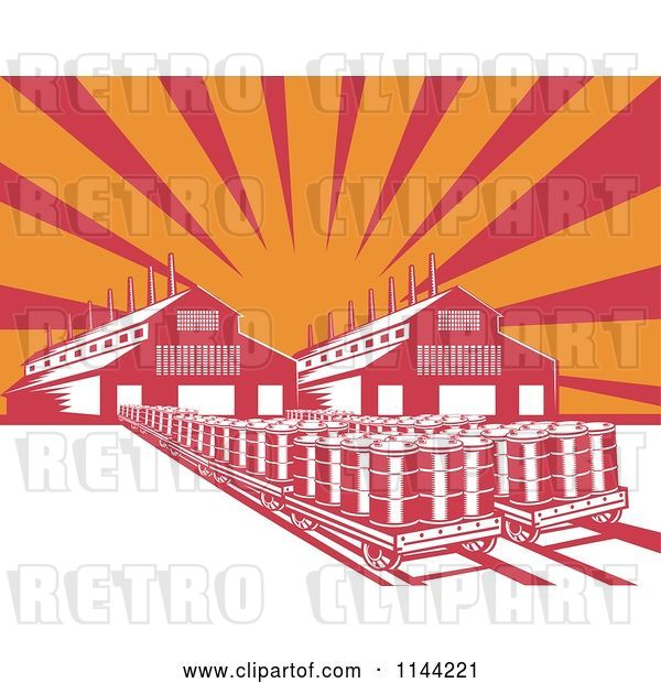 Vector Clip Art of Retro Oil Factory Plant Building Against Rays
