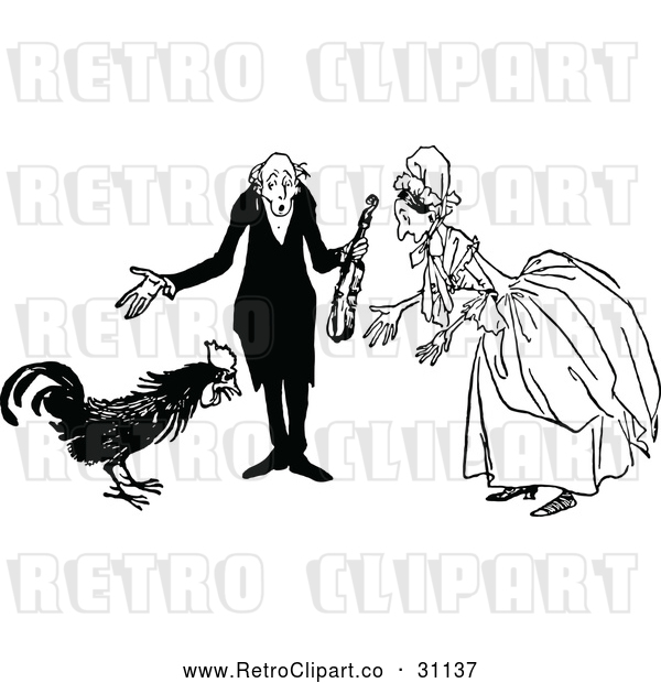 Vector Clip Art of Retro Old Couple and Rooster