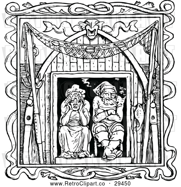 Vector Clip Art of Retro Old Couple in a Window