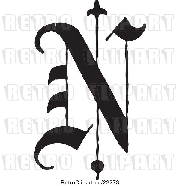 Vector Clip Art of Retro Old English Abc Letter N