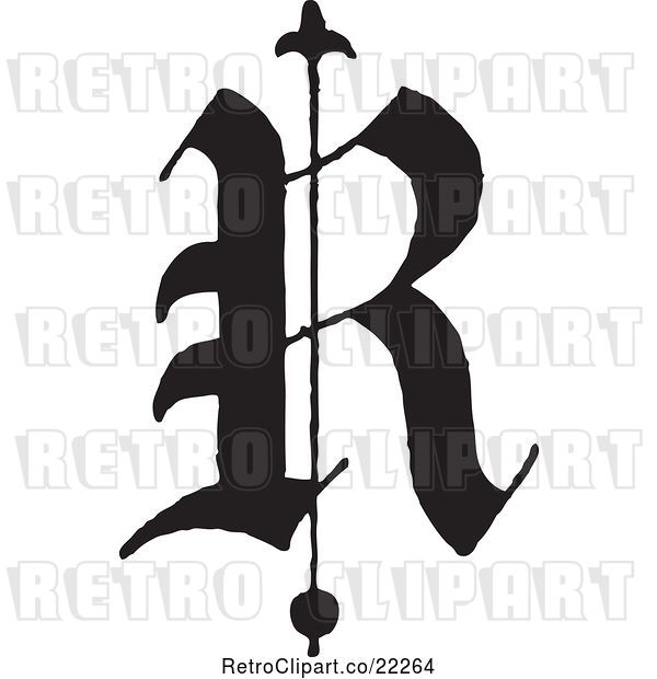 Vector Clip Art of Retro Old English Abc Letter R