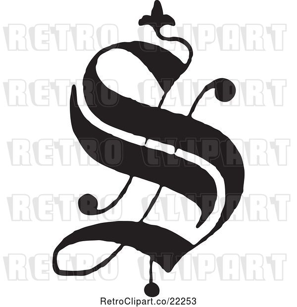 Vector Clip Art of Retro Old English Abc Letter S