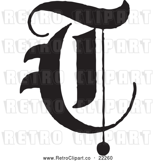 Vector Clip Art of Retro Old English Abc Letter T