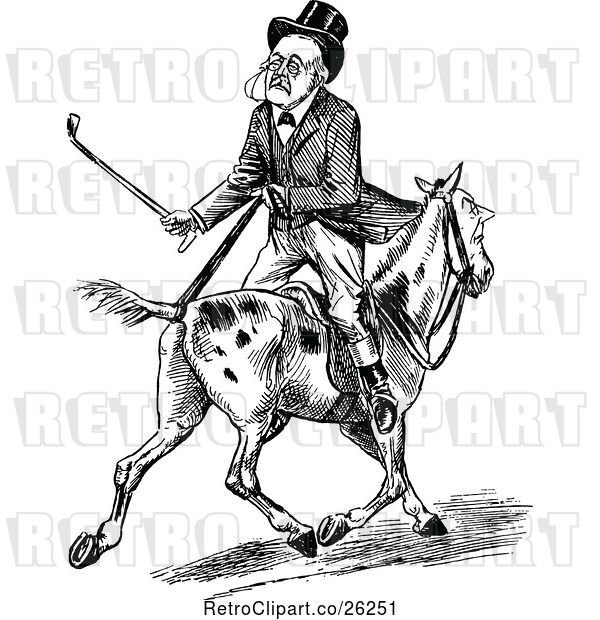 Vector Clip Art of Retro Old Guy Riding Backwards on a Horse