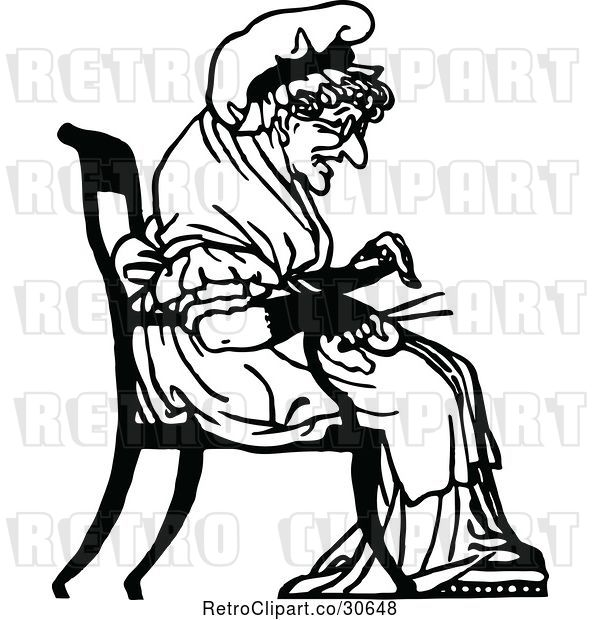 Vector Clip Art of Retro Old Lady Knitting