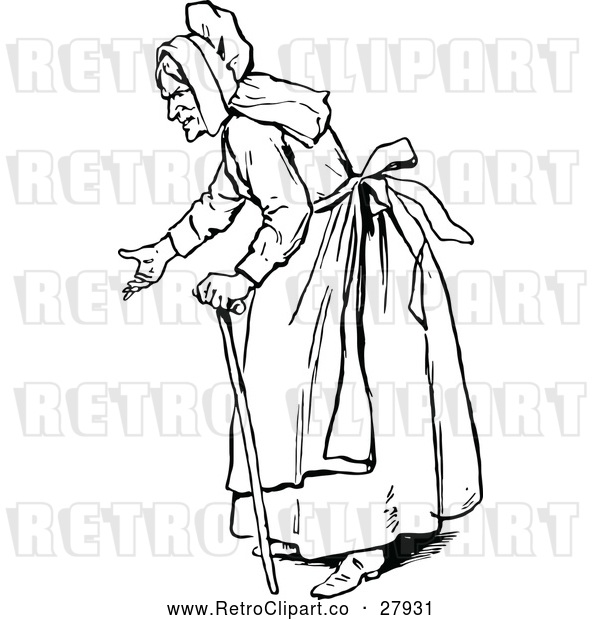 Vector Clip Art of Retro Old Woman Gesturing