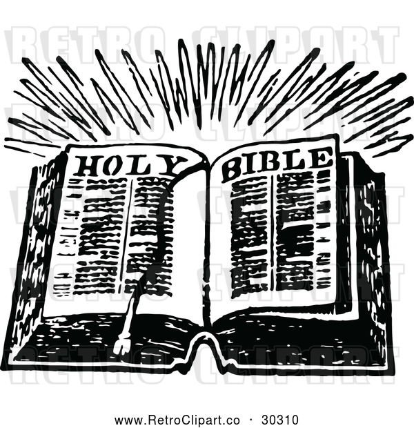 Vector Clip Art of Retro Open Holy Bible Book